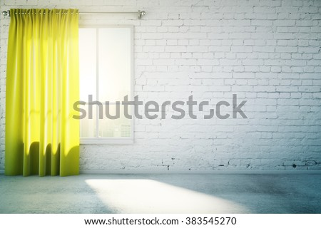 Blank white wall with yellow curtain and concrete floor, mock up, 3d render