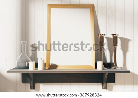 Blank white wooden picture frame on the wooden shelf at wooden wall, mock up 3D Render - stock photo