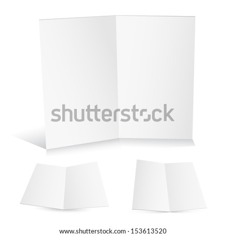 Blank white zigzag folded paper. This is Raster version. - stock photo