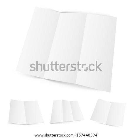 Blank white zigzag folded paper.This is Raster version. - stock photo
