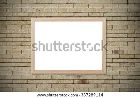 Blank whiteboard copy space with wood frame on brick wall background. - stock photo
