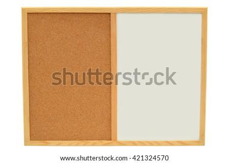 Blank Whiteboard Cork board isolated on white background - stock photo