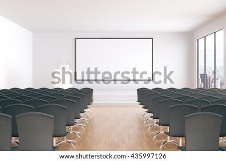 3d Fußboden Lehrgang ~ Blank whiteboard conference hall interior rows stockillustration