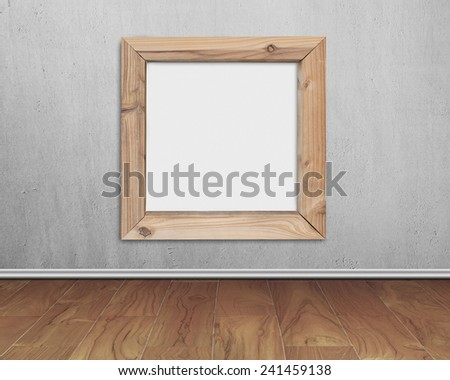 blank whiteboard with wooden frame on concrete wall and wood floor background - stock photo