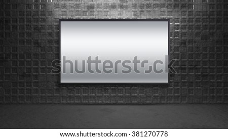 blank wide screen TV on brick wall for promotion display - stock photo