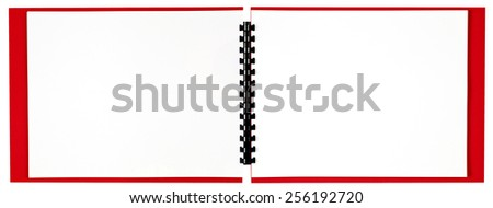 Blank Wide Spiral Bound Book With Red Cover Isolated On White - stock photo