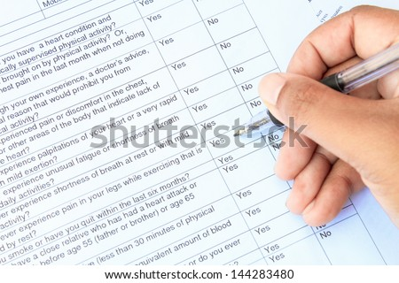 Blank with medical form - stock photo