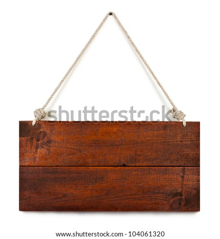 blank wood sign board on rope with space for text isolated on white - stock photo