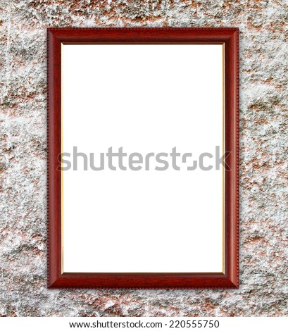 blank wood wall on ancient stone wall background - stock photo