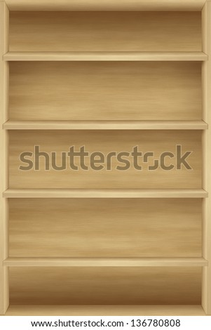 Blank wooden bookshelf - stock photo
