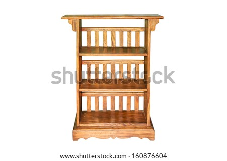 Blank wooden bookshelf isolated on white background - stock photo