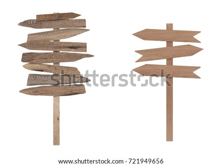 blank wooden directional beach signs on pole, isolated on white background