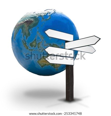 Blank wooden guidepost for Your text made up of arrows pointed different directions with the Earth globe in the background - concept of worldwide economy, politics, diplomacy, tourism, etc. - stock photo