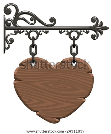 Blank wooden heart-form signboard - stock photo