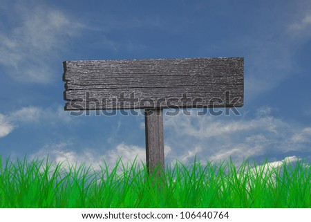 blank wooden sign and green grass on blue sky - stock photo