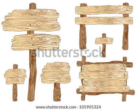 Blank wooden sign and notice board illustrations