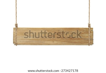 blank wooden sign and rope isolated