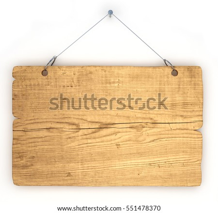 Blank wooden sign hanged by chains