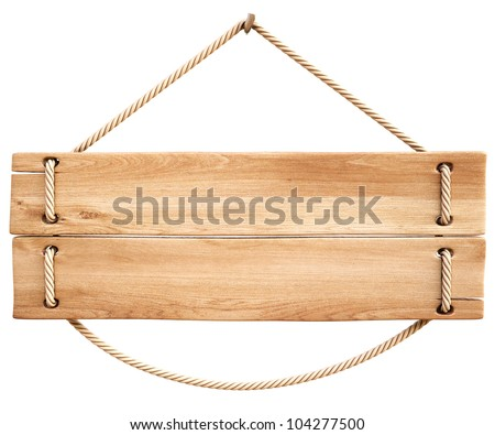 blank wooden sign hanging on a rope. isolated on white. - stock photo