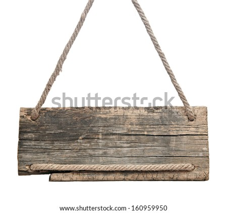 blank wooden sign hanging on a rope. isolated on white.