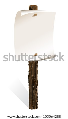 Blank wooden sign with paper wrapped - stock photo