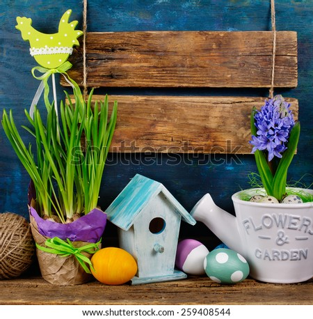 Blank Wooden Signboard and Easter Decorations, Easter   - stock photo