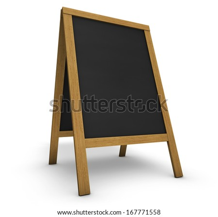Blank wooden vintage restaurant chalkboard or board with central empty black surface for menu, daily food or event program on white background.