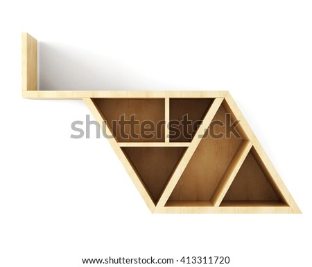 Blank wooden wall shelf for books isolated on white background. 3d illustration. - stock photo
