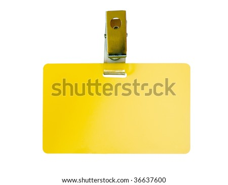 Blank yellow badge with clip isolated on white - stock photo