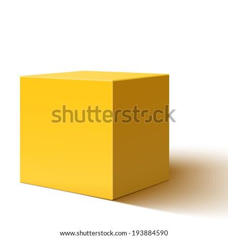 Blank yellow box isolated on white background - stock photo