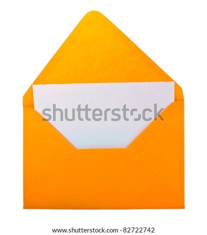 Blank yellow envelope isolated on white - stock photo