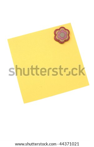 blank yellow note with magnet - stock photo