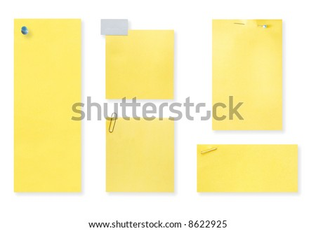 Blank yellow notes.  Different sizes, fastened with pushpin, staple, paperclip, straight pin, and tape.  With drop shadow, isolated on white, ready for your messages.