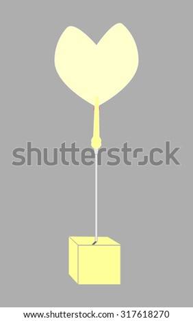 blank yellow paper clamp by yellow cube alligator wire  - stock photo