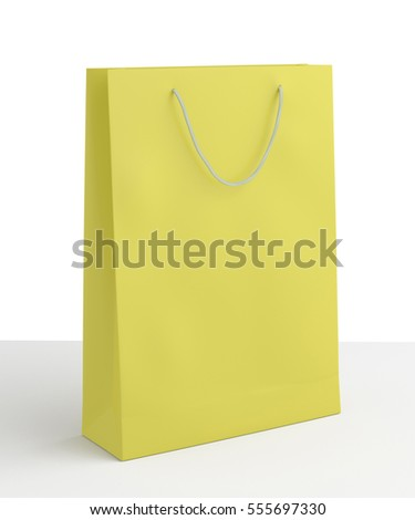 Blank yellow paper shopping bag on white background. Isolated include clipping path. 3d render.