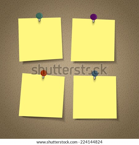 blank yellow reminder sticky note isolated on corkboard - stock photo