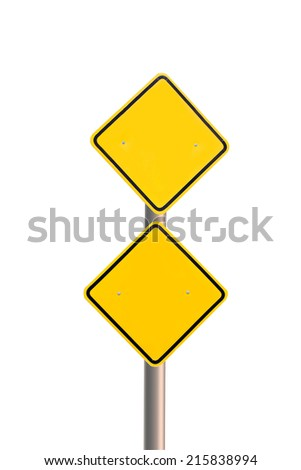Blank Yellow Road Sign Isolated on white background - stock photo