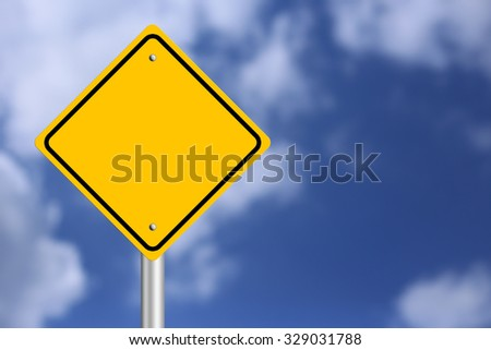 Blank Yellow  Road Sign with blue sky background. - stock photo