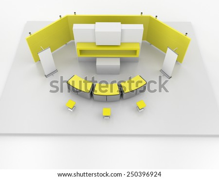 blank yellow stand design in exhibition or trade fair from top view - stock photo