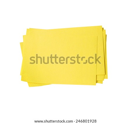 Blank yellow sticky note block isolated on white (clipping path) - stock photo