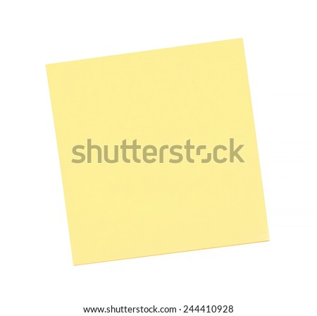 Blank yellow sticky note on white background - stock photo