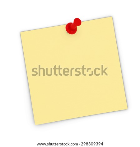 Blank Yellow Sticky Note Pinned to white background - stock photo
