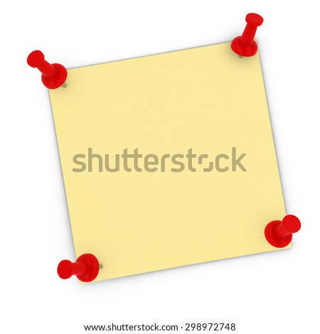 Blank Yellow Sticky Note with Corners Pinned to white background by red pins - stock photo