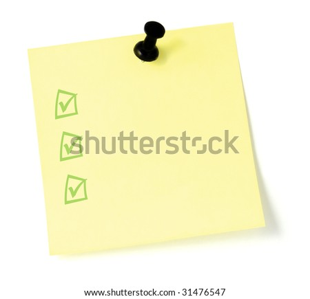 Blank Yellow To-Do List Sticky Note Sticker with push pin, isolated black thumbtack, tickbox tickmarks checklist - stock photo