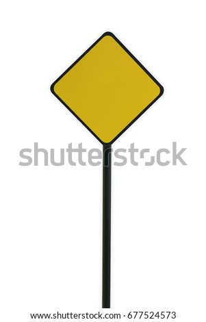 Blank Yellow Traffic Sign Template On Stock Photo (Royalty Free ...