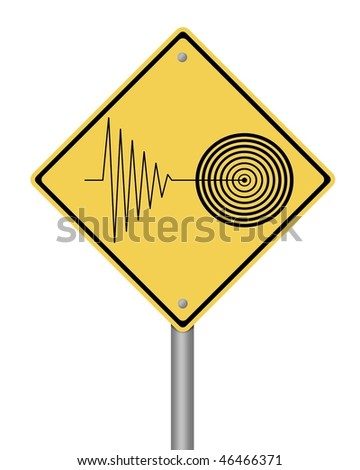 blank yellow tremor warning sign on white background - stock photo