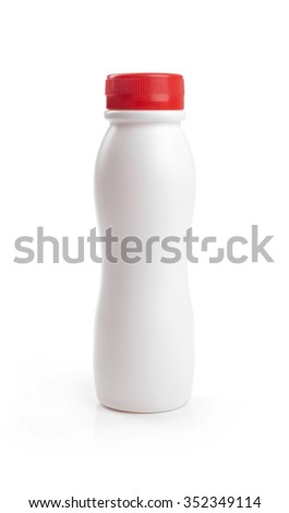 blank yogurt drink bottle with red cap isolated on white - stock photo