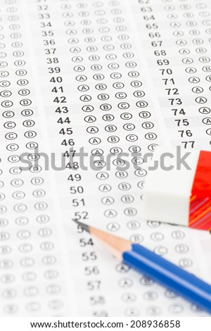 Blanked answer sheet with eraser