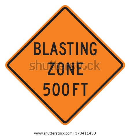 Blast Zone 500 FT sign isolated on a white background - stock photo