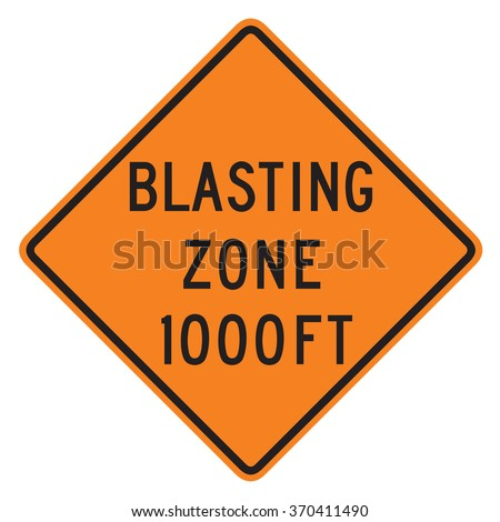 Blast Zone 1000 FT sign isolated on a white background - stock photo